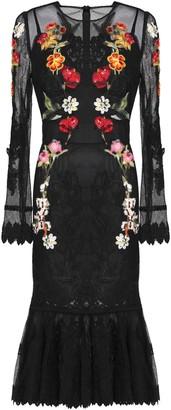 Dolce & Gabbana Floral-appliqued Lace-trimmed Mesh Midi Dress