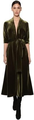 Luisa Beccaria Flared Velvet Midi Dress W/ Belt