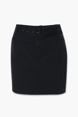 Forever 21 Plus Size Belted Denim Mini Skirt