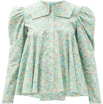 Matty Bovan - Dolly Floral-print Deadstock-poplin Blouse - Light Blue