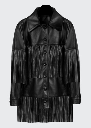 Dan Cassab Loretta Lamb Leather Fringe Jacket, Black