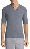 Vince Ribbed Short-Sleeve Wool-Silk Henley Shirt, Heathered Cinder