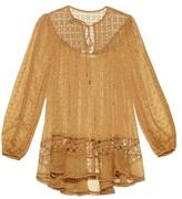 Zimmermann Belle Web Swiss-dot and lace silk top