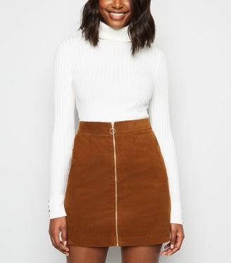 New Look Cord Zip Front Mini Skirt
