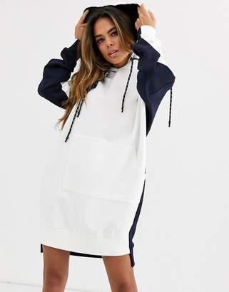 Asos Design DESIGN colour block hoodie sweat dress-Multi