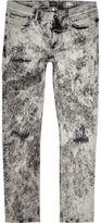 River Island MensWhite acid wash stud skinny jeans