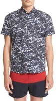 Saturdays Nyc Men's Esquine Ash Print Slim Fit Sport Shirt