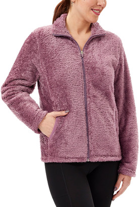 Vogo VOGO Women's Sweatshirts and Hoodies d - Dark Rose Sherpa Track Jacket - Women