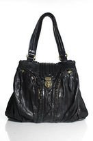 Treesje Black Leather Ruffle Trim Twist Lock Closure Shoulder Handbag