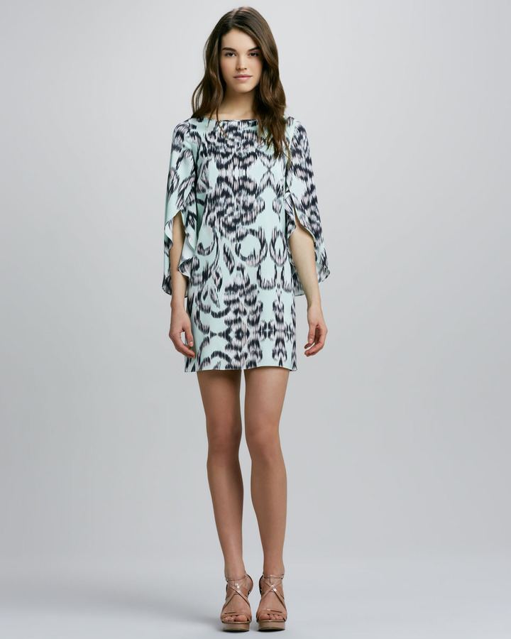 Milly Butterfly-Sleeve Printed Shift Dress