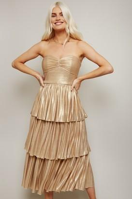 Little Mistress Savva Gold Lurex Belted Tiered Midi Dress