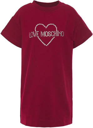 Love Moschino Crystal-embellished Stretch-cotton Fleece Mini Dress
