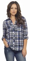 Hot From Hollywood Women's Classic Collar Button Down Roll Up Long Sleeve Cotton Plaid Shirt