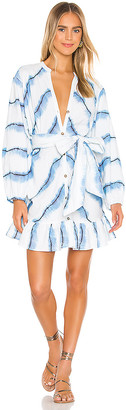 SUBOO Estelle Button Balloon Sleeve Mini Dress