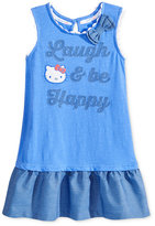 Hello Kitty Embroidered Graphic Cotton Dress, Toddler and Little Girls (2T-6X)