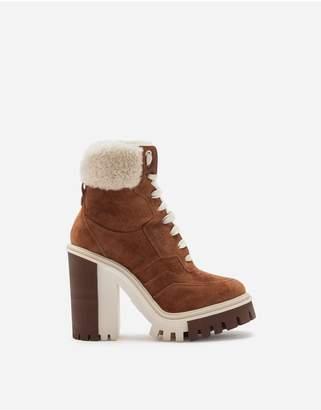 Dolce & Gabbana Split-Grain Leather Trekking Boots With Shearling