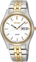 Seiko Watch, Men's Solar Two Tone Stainless Steel Bracelet 37mm SNE032