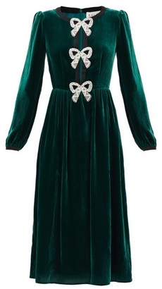 Saloni Camille Crystal-bow Velvet Midi Dress - Green