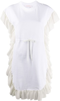 See by Chloe short sleeve ruffled trim jersey dress
