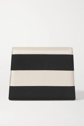 Emilia Wickstead Striped Satin Clutch - Black