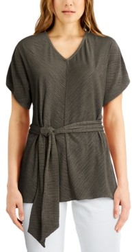 Alfani Plus Size Belted V-Neck Top, Created for Macy's
