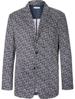 Engineered Garments Blue Baker Slim-fit Paisley-print Cotton-voile Blazer - Navy