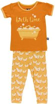 Kickee Pants Big Girls' Print Short Sleeve Pajama Set In
