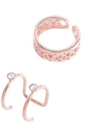 Sterling Forever 14K Rose Gold Vermeil Filigree & Bezel Set Cubic Zirconia Mismatched Ear Cuff Set - Set of 2