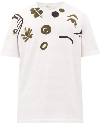 Marni Doodle-print Cotton T-shirt - Mens - White