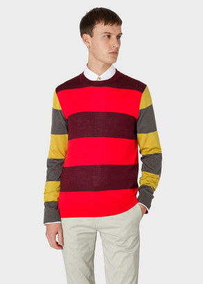 Paul Smith Men's Burgundy And Red Stripe Merino Wool And Silk-Blend Sweater