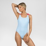 Sugar Coast by Lolli Women's Gingham Bow One Piece Swimsuit - Blue Gingham