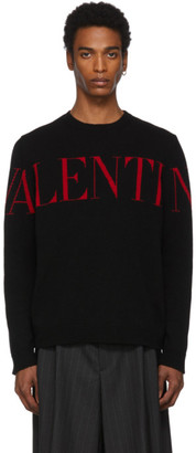 Valentino Black and Red Cashmere Logo Sweater