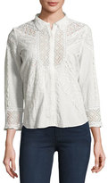 BA&SH Emalia Mixed Eyelet-Lace Shirt, Ecru