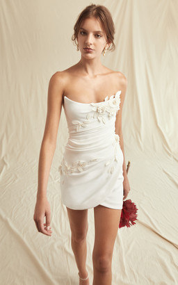 Oscar de la Renta Bridal Embroidered Drape Mini Dress