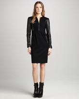 Burberry Leather-Sleeve Jersey Dress