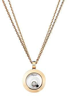 Chopard Women's Happy Spirit Diamond, 18K Rose & White Gold Double Circle Pendant Double-Chain Necklace