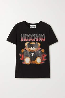 Moschino Printed Cotton-jersey T-shirt - Black