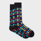 Paul Smith Men's Black Multi-Coloured Tile Pattern Socks