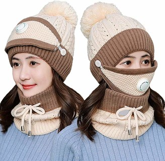 BIFADA Winter Beanie Hat Scarf and Mask Set Thick Warm Knit Fleece Lined Skull Cap Scarf Mouth Mask