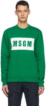 MSGM Green Logo Box Sweatshirt