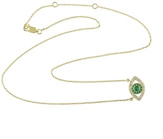 Artisan 14K Yellow Gold Natural Emerald Genuine Diamond Evil Eye Chain Necklace Jewelry