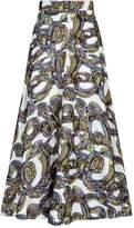 Roksanda Branca Baroque Embroidered Midi Skirt, White, UK 12