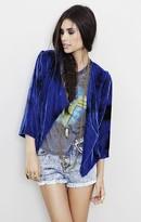 Blu Moon Velvet Open Front Jacket