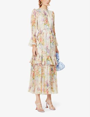 Needle And Thread Metallic floral-pattern chiffon maxi dress