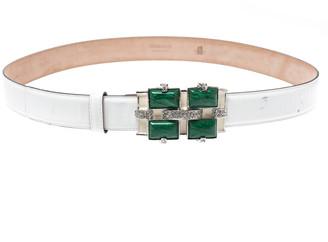 Roberto Cavalli White Patent Leather Crystal Embellished Buckle Belt 95CM