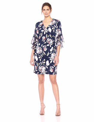 MSK Women's Ruffle Bell Sleeve Dress with Floral Print