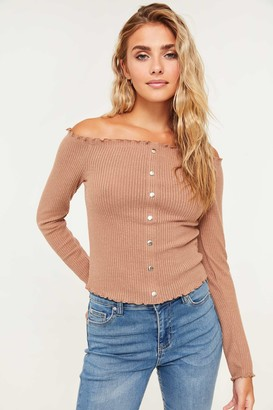 Ardene Ribbed Off Shoulder Top