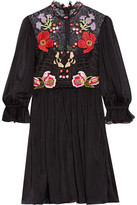 Temperley London Mini Aura Embroidered Silk-blend Chiffon And Lace Mini Dress - Black