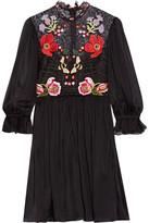 Temperley London Mini Aura Embroidered Silk-blend Chiffon And Lace Mini Dress - UK12
