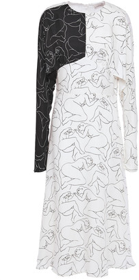 By Malene Birger Cold-shoulder Cutout Printed Twill Midi Dress